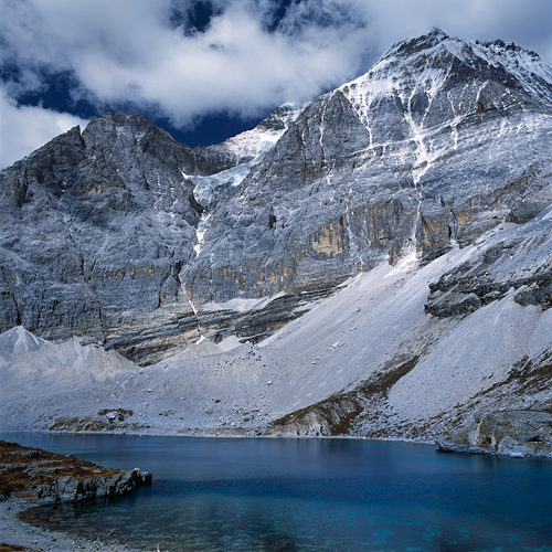 Image: Five Colour Lake and Mount Chenrezig, Daocheng Yading