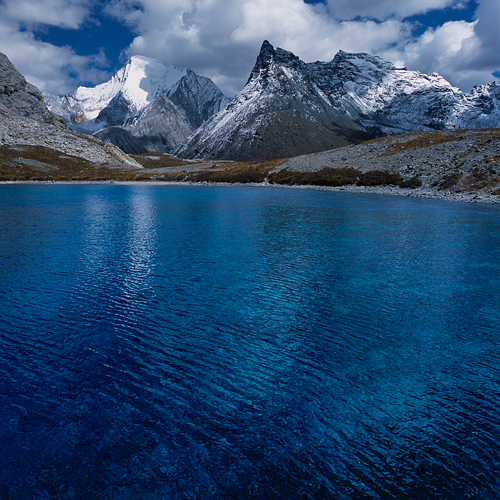 Image: Five Colour Lake and Mount Chana Dorje, Daocheng Yading