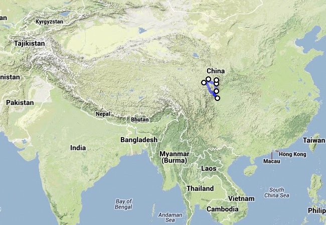 Oleg's trip to Sichuan in October 2013 - map 1