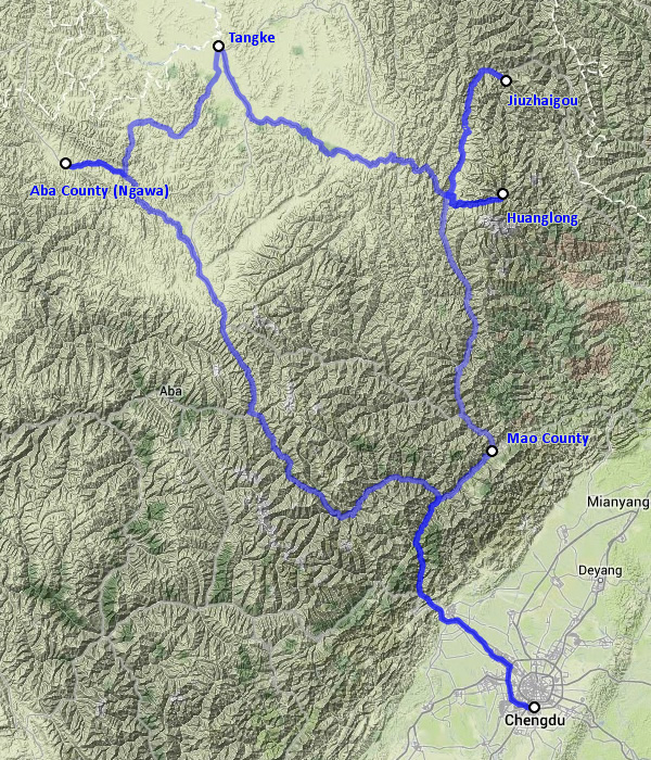 Oleg's trip to Sichuan in October 2013 - map 2