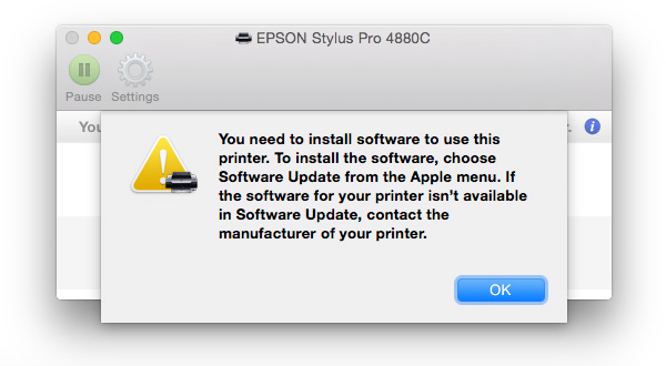 Epson software problem with Yosemite