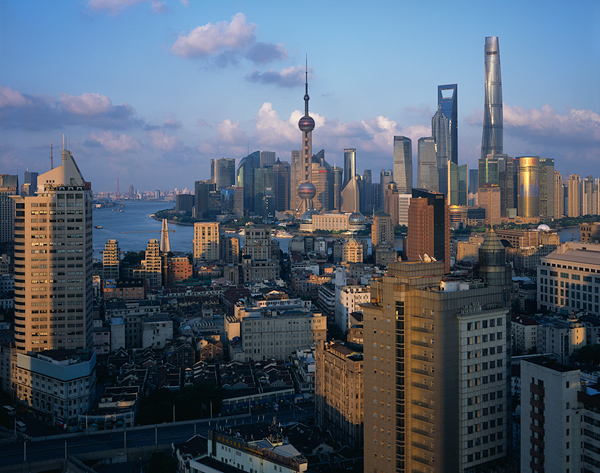 Image: Shanghai at sunset from No. 668 North Suzhou Road