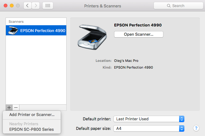 Epson P800: installation in OS X El Capitan